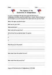 english worksheets signers of the declaration of independence