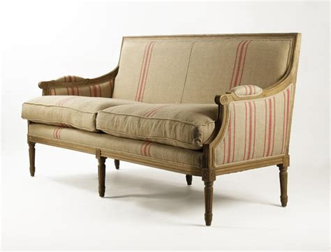 louis sofa st germain french style red stripe linen louis xvi sofa