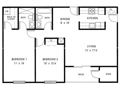 floor plan 1000 square foot house small 2 bedroom house plans 1000 sq ft small 2 bedroom