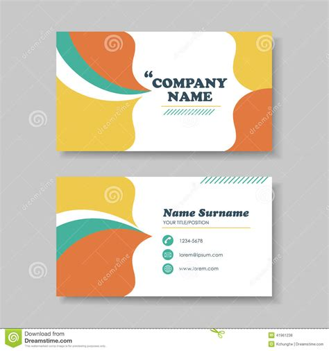 templates for business cards vector vector business card design template of orange stock