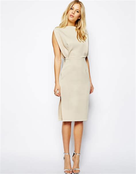 Midi Dress asos premium open top midi dress in beige lyst
