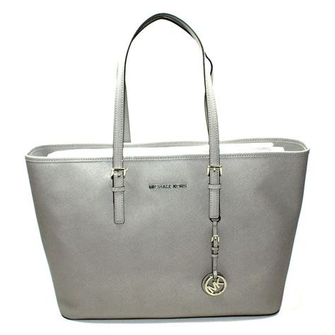 Mk Jetset Travel Pearl Grey michael kors jet set medium travel genuine leather tote pearl grey 30t3stvt6l michael kors