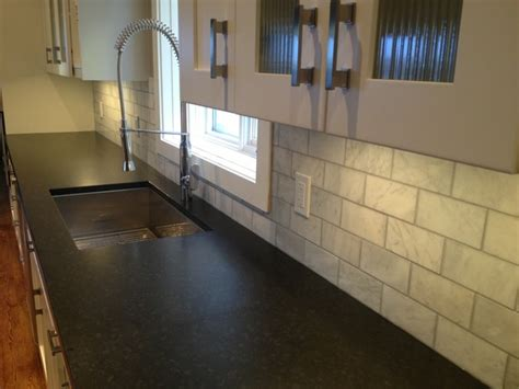 Kitchen Tile Backsplash Design by Nero Assoluto Leather Finish Granite