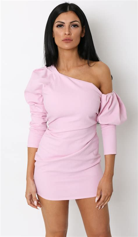 The Puff Sleeve one shoulder puff sleeve dress pink lola boutique