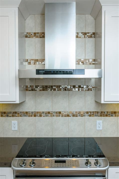 horizontal tile backsplash kitchen backsplash featuring porcelain tile accented with