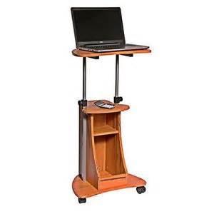 Portable laptop cart desk rolling adjustable office table