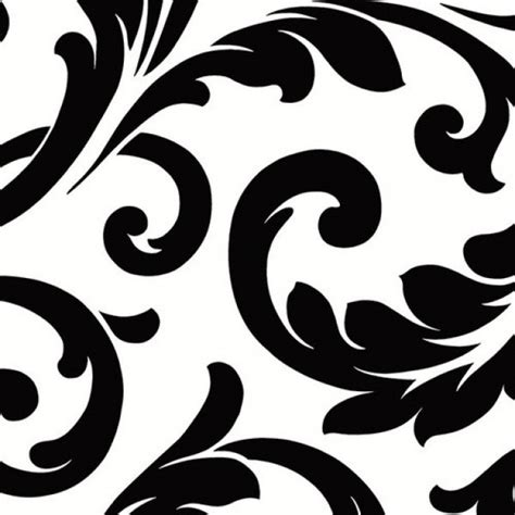 Tuscan Wall Murals black and white bold scroll large pattern wallpaper