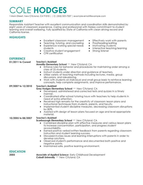 Teaching Resume by Best Assistant Resume Exle Livecareer