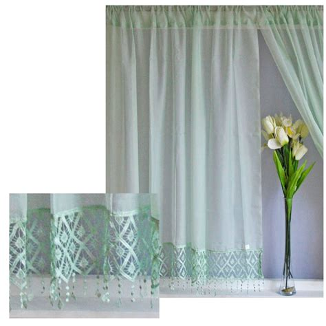 macrame curtain panels voile net curtains panels with macrame lace white cream