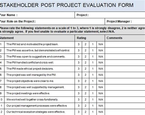 project evaluation form template stakeholder post project evaluation form 187 template