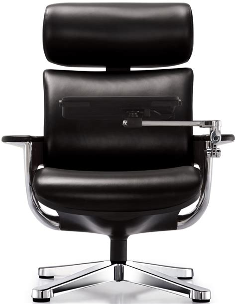 Office Chair With Built In Footrest by Nuvem Leather Office Chair With Footrest And Built In Laptop Holder Black Nuvemblk By Raynor