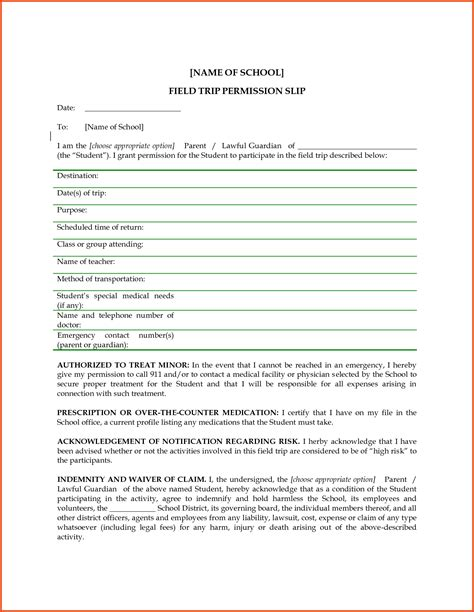 permission slip template 100 field trip template trip itinerary template trip