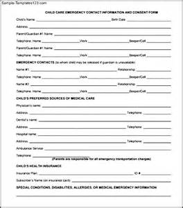 emergency information form template child care emergency contact information and consent form