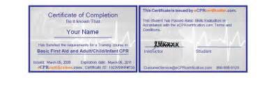 cpr card template great aid certificates 2016