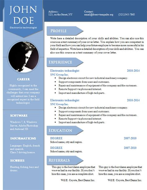 Resume Vitae Sle In Word Format Free Curriculum Vitae Resume Word Template 904 910 Free Cv Template Dot Org