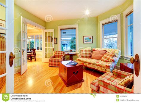 Golden Bright Green Luxury Living Room With Red Sofas. Stock Photo Image: 32325476