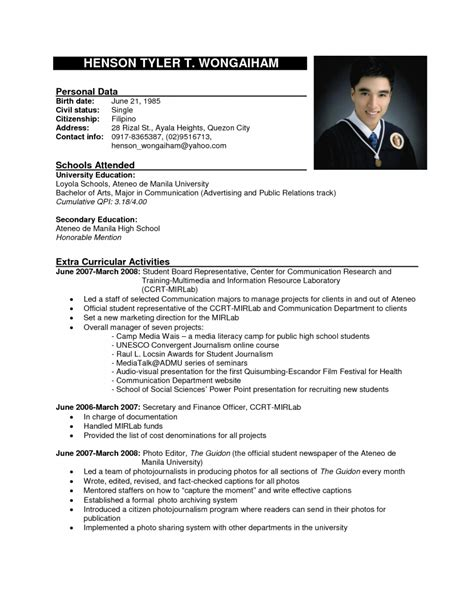 Exle Of Cv Resume Free Resume Templates Best Cv Format Bitraceco For