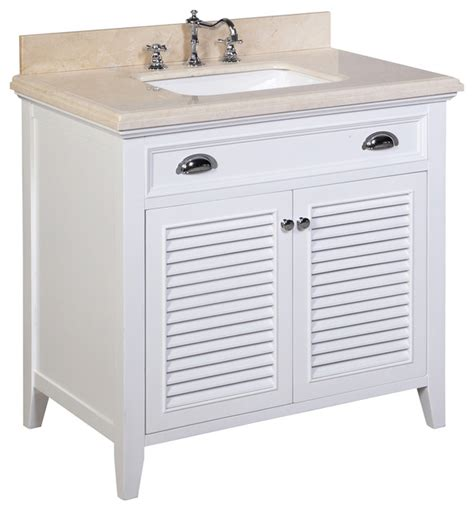 Tropical Bathroom Vanities by 36 Quot Bath Vanity Crema Marfil White Tropical