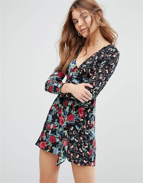 Printed Front Wrap Dress bershka bershka floral printed wrap front dress