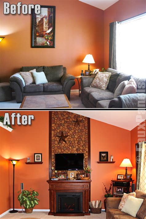 a riverstone fireplace sets the tone creative faux panels paneling for walls before after photos creative faux panels