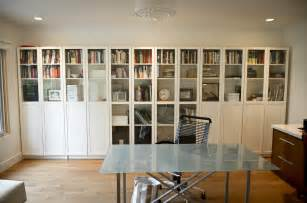 Bookshelf Design For Home billy bookcase with glass doors in a simple contemporary home office
