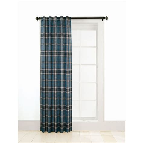 blue plaid curtain panels shop style selections adrian plaid 63 in l plaid blue back