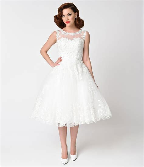 6 Of The Best Black White Inspired Dresses by Unique Vintage 1950s Style Ivory Lace Tulle Riviera