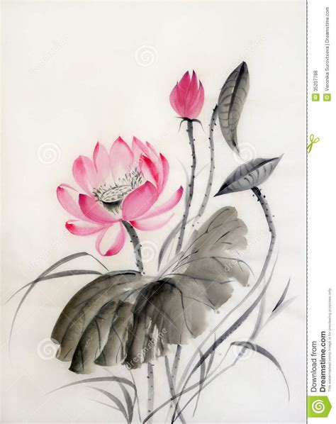 watercolor tattoo japan watercolor painting of lotus flower royalty free stock