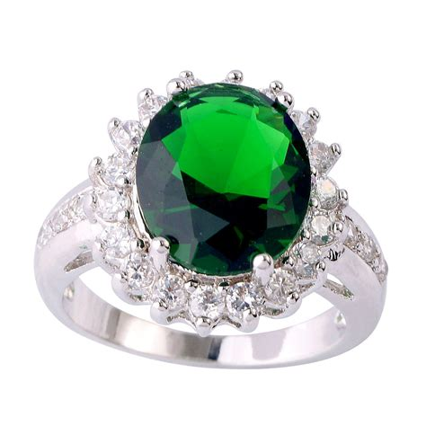 Blue Sapphire 5 11 Ct kathy oval cut 5 ct emerald white sapphire silver ring