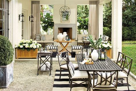 Black And Blue Patio by Suzanne Kasler S Summer 2014 Collection How To Decorate