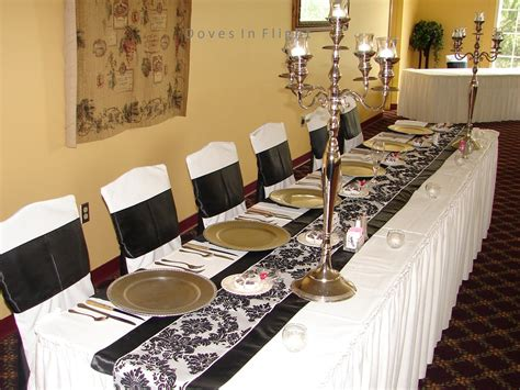 black and white table decorations chair covers of lansing table decorations