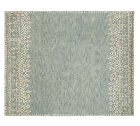 rug pottery barn desa bordered wool rug blue pottery barn