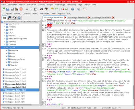 bluefish editor design view layout und design