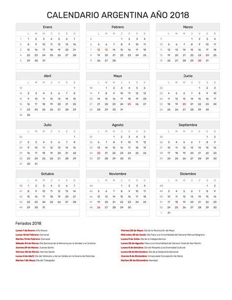 Calendario 2018 Con Feriados Argentina Calendario Argentina A 241 O 2018 Feriados