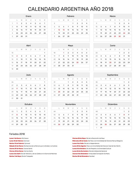 Calendario 2018 Mexico Para Imprimir Calendario Argentina A 241 O 2018 Feriados