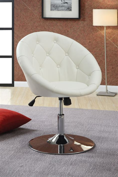 round chairs for bedrooms modern uphosltered white leather swivel desk chair with
