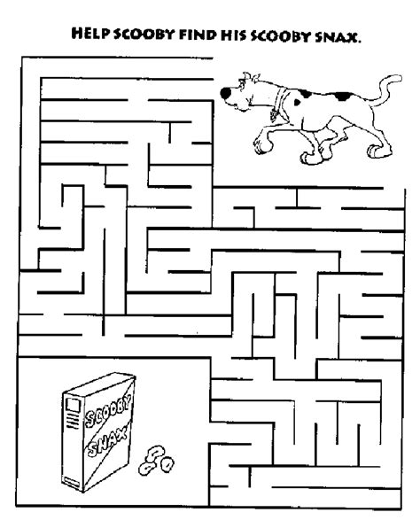 printable scooby doo activity sheets cake wedding maze coloring pages