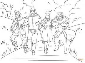 Scarecrow Tin Man Dorothy And Cowardly Lion Coloring Wizard Of Oz Printable Coloring Pages