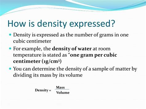 the density of water at room temperature ppt weight mass volume and density powerpoint