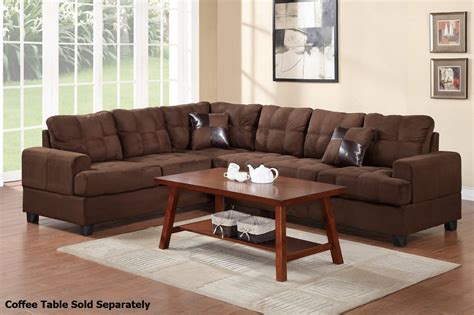 brown fabric sectional sofa poundex pershing f7627 brown fabric sectional sofa steal