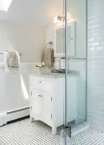 white tile bathroom ideas are these 2x4 beveled edge subway tiles maybe by ann