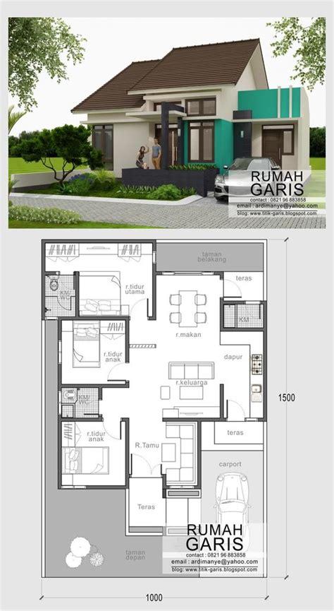 denah dan tak rumah sederhana minimalis tipe rumah 90 m2 di lahan 10x15 meter arsitek