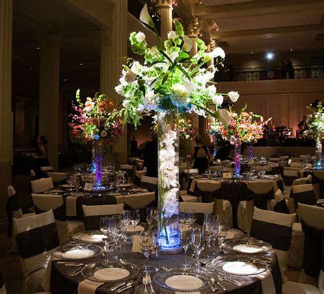 lighting arrangement clear trumpet vases center piece with lights flower vase
