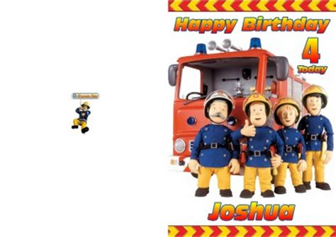 Fireman Sam Birthday Card Personalised Fireman Sam Birthday Card