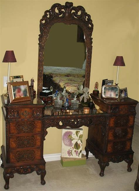 antique vanity with mirror and bench antique rococo louis xv walnut burl wood vanity dresser