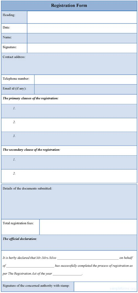 forms template registration form template sle registration form