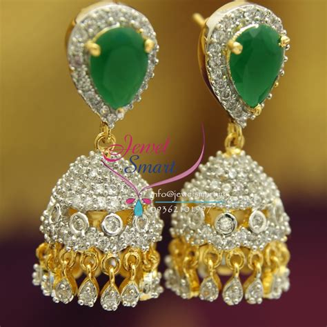 design earrings online j1755 american diamond white emerald jhumka gold design