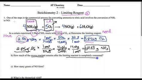 Stoichiometry Limiting Reagent Worksheet by Lecture Ap 1 4 Limiting Reagent