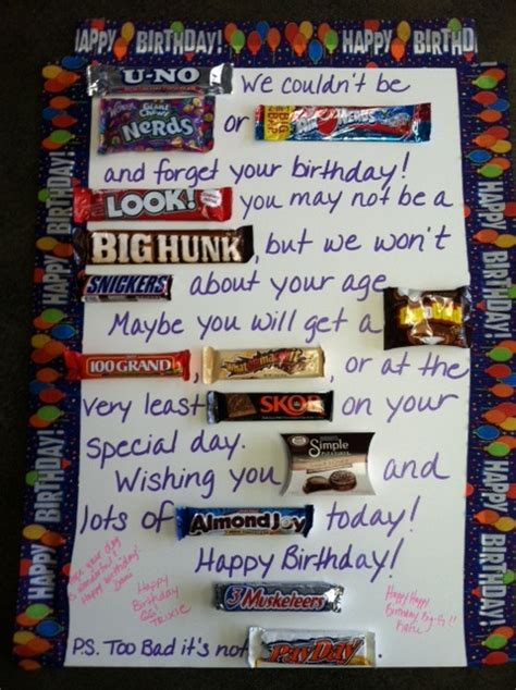 Birthday Card Made Out Bars Poster Board Candy Bars And A Little Creativity Make A