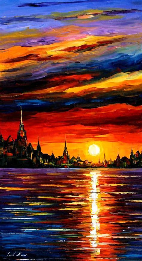 paint the nite island leonid afremov on canvas palette knife buy original